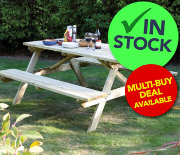 Wooden Picnic Benches In Stock