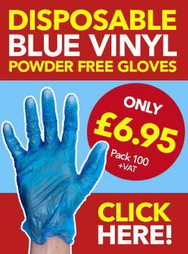 Disposable Blue Vinyl Powder Free Gloves from Stephensons Catering Suppliers