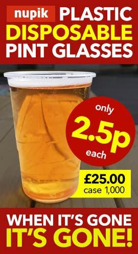 Nupik Disposable Plastic Pint Beer Glasses