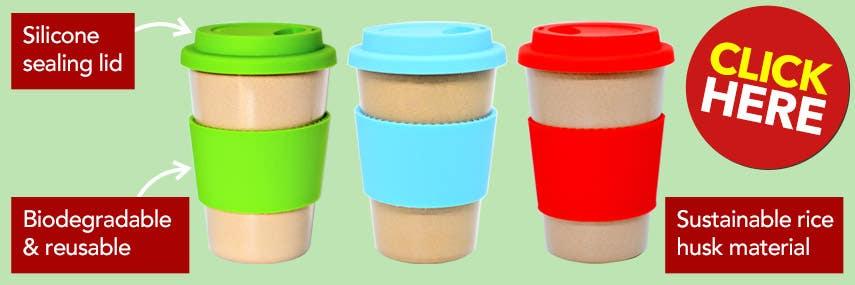 Eco-Friendly Reusable Rice Husk Coffee Cups
