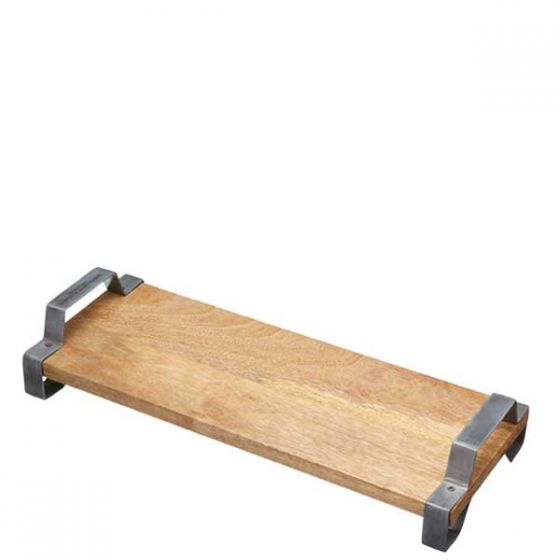 Industrial Kitchen Mango Wood Serving Board with Distressed Metal Handles 15.5x6