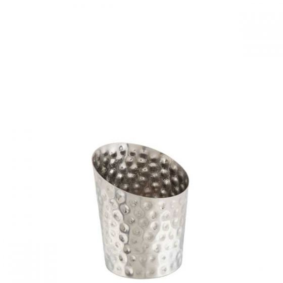 Stainless Steel Hammered Angled Serving Cone 3.75x4.5