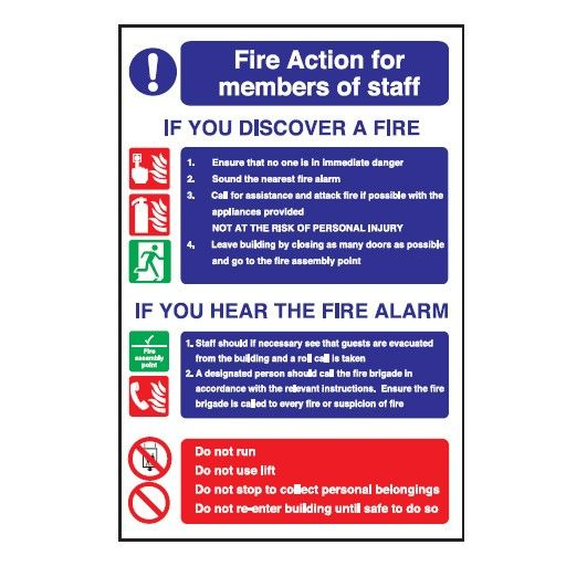 Fire Action 'Members of Staff' Glow In The Dark Sign 30x20cm