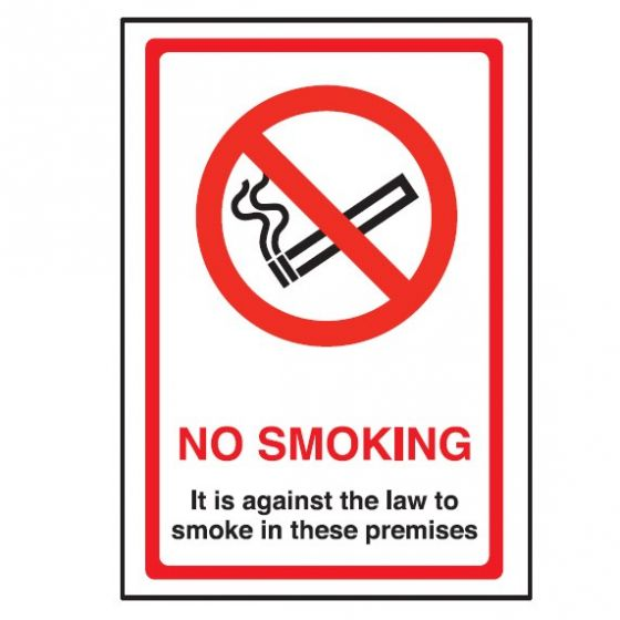 No Smoking, Against the Law Interior Vinyl Sticker 20x15cm