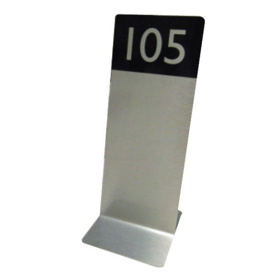 Flat Base Slimline Tall Table Number Double Sided Brushed Silver 250x75x75mm