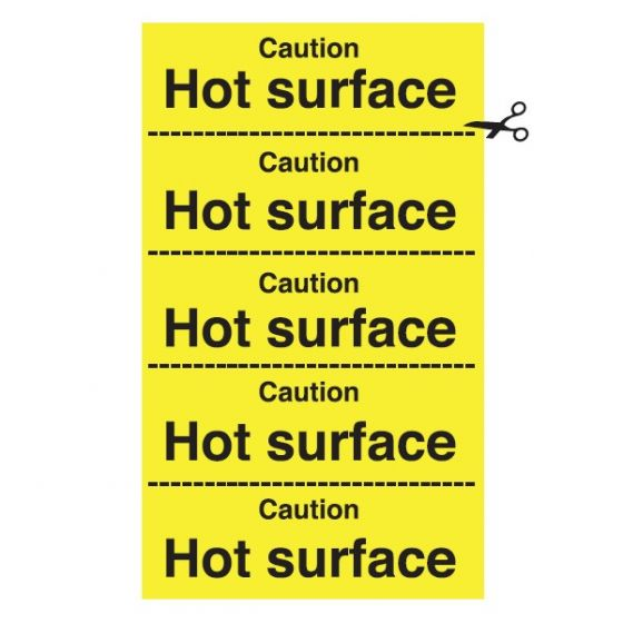 Yellow Caution Hot Surface Stickers 10x3cm