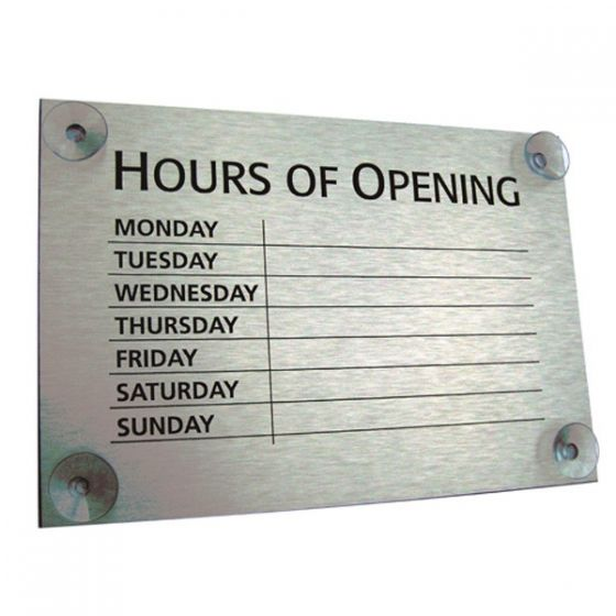 Black on Brushed Silver Hours of Opening Window Sign 20x30cm
