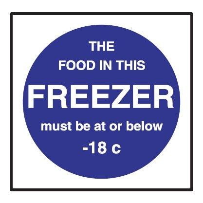 Freezer Temperature Sticker 100x100mm