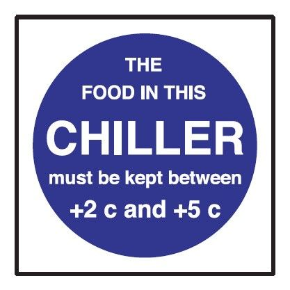 Chiller Temperature Fridge Sticker 100x100mm