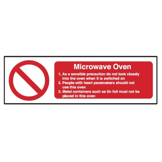 Microwave Safety Notice 100x300mm