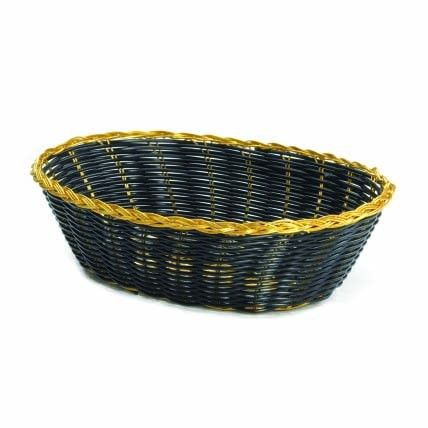 Black Handwoven Oval Bread Basket with Gold Trim 9x6x2.5