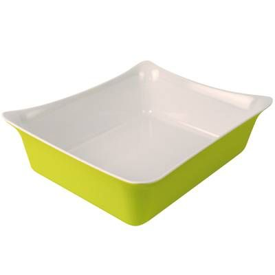 Dalebrook Lime Green/White 1/2 Melamine Fleur Crock with Silicone Feet 325x265x1