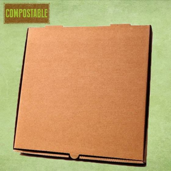 Compostable Plain Brown Cardboard Pizza Delivery Box 12