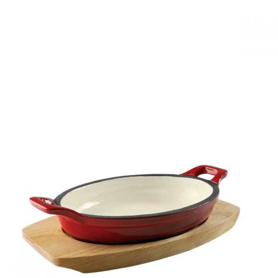 Magma Red Cast Iron Oval Eared Dish with Base 7x5