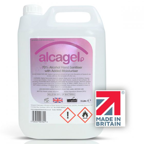 Vanguard Alcagel Hand Sanitiser Gel 5 Ltr (70% Ethanol)