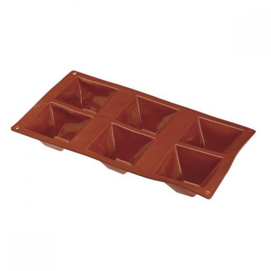 Flexible Silicone 1/3 GN 6 Pyramid Pastry Mould 71x71x40mm 90ml