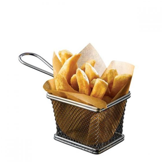 Stainless Steel Rectangular Wire Serving Baskets 4x3.25x3