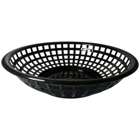 Round Black Plastic Serving Basket 8