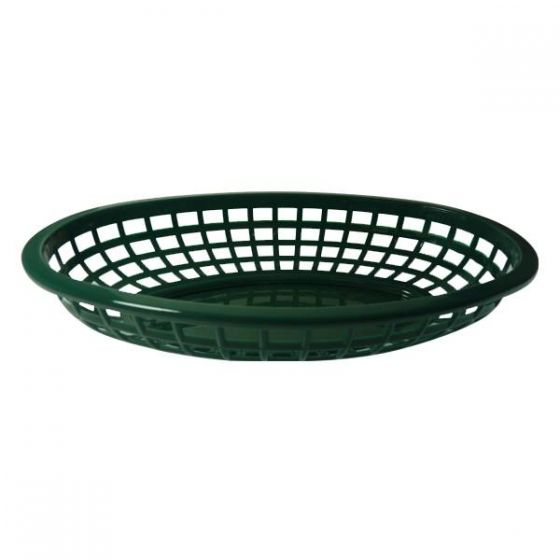 Oval Forest Green Plastic Classic Serving Basket 9.5x6x2