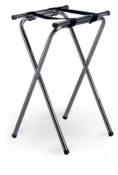 Chrome Plated Double Bar Folding Tray Stand 19x16.5