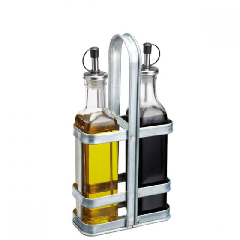 Vintage Style Glass Oil & Vinegar Set in Galvanised Steel Holder 8oz 22.5cl 31.5x15.5cm