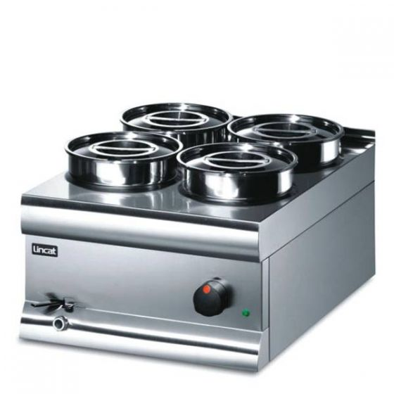 Lincat Bain Marie Wet Heat with 4 Stainless Steel Round Pots 450x600x325mm