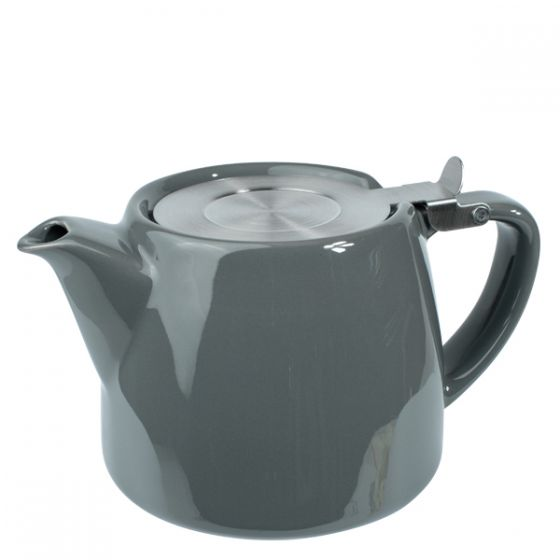 Grey Ceramic Teapot With Stainless Steel Lid & Infuser 18oz / 51cl