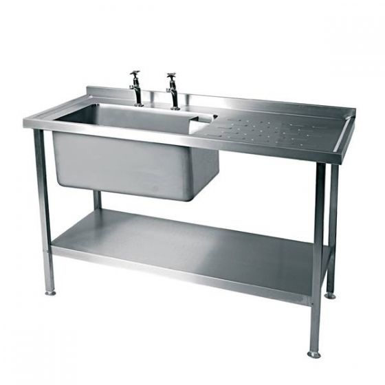 Stainless Steel Single Bowl Sink Right Hand Drainer 1200x600mm (Taps Not Included)