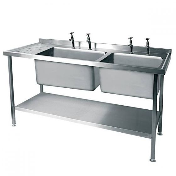Stainless Steel Double Bowl Sink Left Hand Drain 1500x600mm (Taps Not Included)