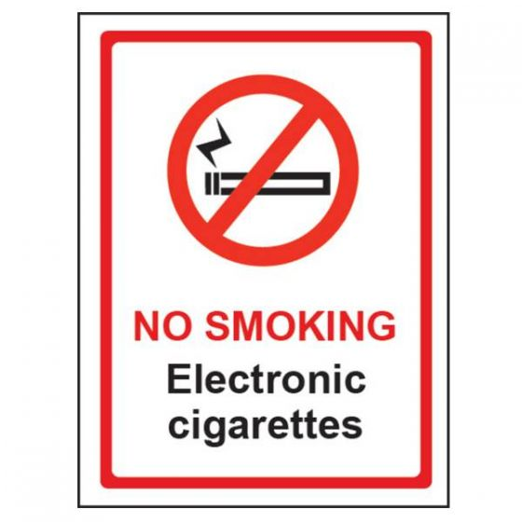 No Smoking Electronic Cigarettes Vinyl Self Adhesive Sign 150 x 200mm