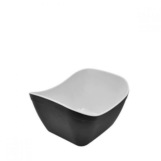 Dalebrook Black & White Matt Melamine 1/6 Verdura Crock 1Ltr, 176x162x112mm