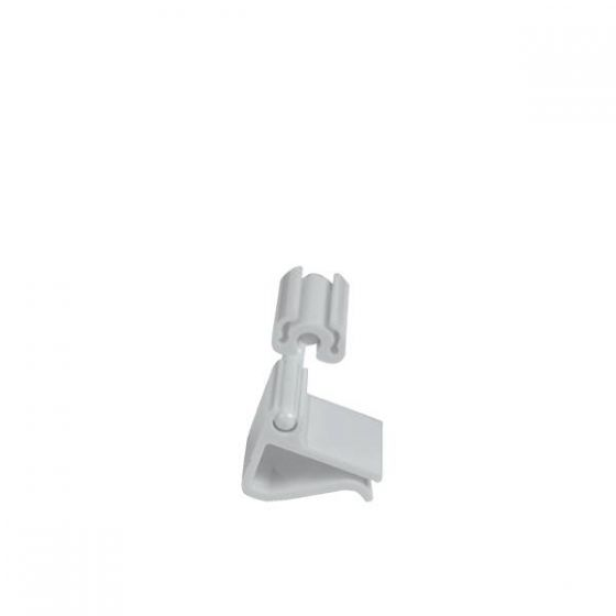 Dalebrook White Polycarbonate Horizontal Ticket Clamp 20mm