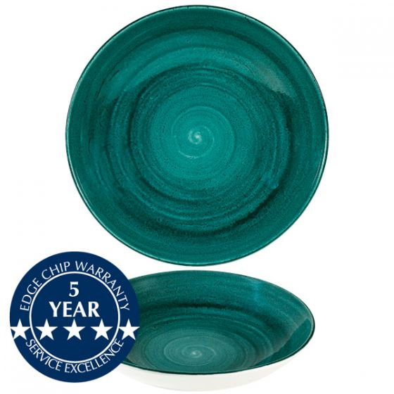 Churchill Stonecast Patina Rustic Teal Coupe Bowl 9.75