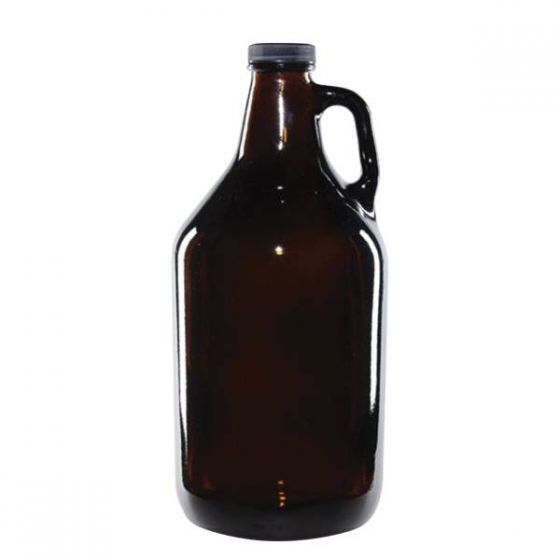 Amber Glass Handled Beer Growler / Carrier with Screw Cap (Holds up to 3 1/2 Pints)