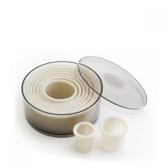 Lacor Professional Quality Nylon & Fibreglass Set of Round Fluted Cutters In Tin
