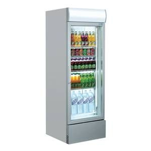 Coolpoint Grey Upright Single Door Bottle Cooler with LED Lighting 285Ltr 620x580x1935mm