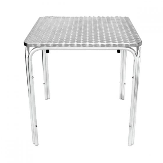 Stacking Square Table Stainless Steel Top with Aluminium Base 72x70x70cm
