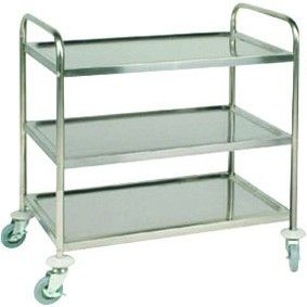 Stainless Steel 3 Tier Clearing Trolley Flat Packed 32.5x20x36.6