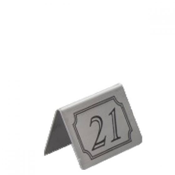 Brushed Stainless Steel Tent Type Table Numbers 21-30
