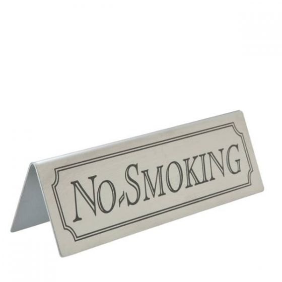 Brushed Stainless Steel Tent Type No Smoking Sign