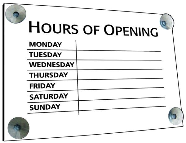 Black on White Hours of Opening Window Sign 20x30cm