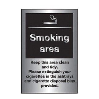 Smoking Area Stainless Steel Notice 300x200mm