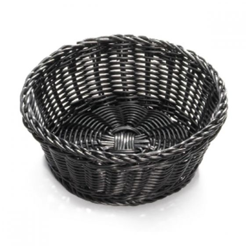 Polywicker Round Bread Basket Black 8.25