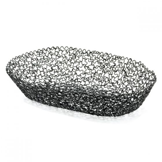 Black Powder Coated Boucle Oval Bread Basket 10