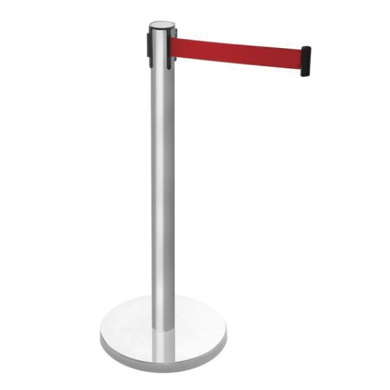 Stainless Steel Retractable Barrier Post With 1.5mtr Red Tape