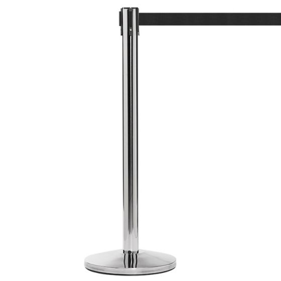 Stainless Steel Barrier Post with Black Tape