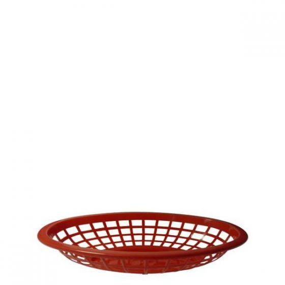 Oval Red Plastic Side Order Basket 8x5.5x2