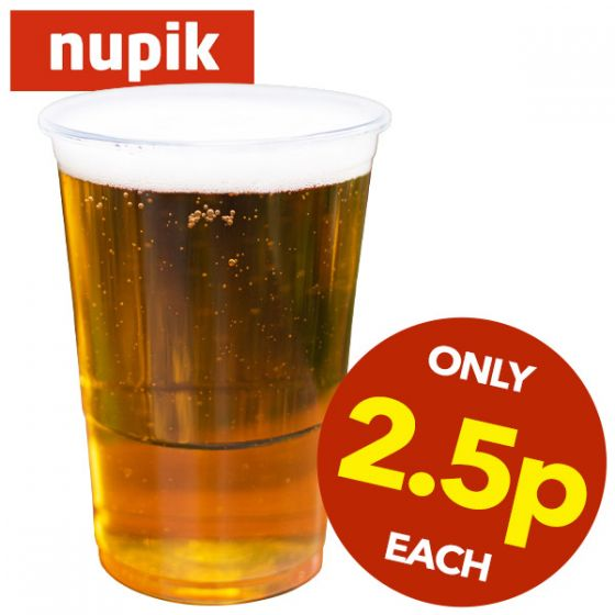 **Special Purchase** Nupik Disposable Plastic Pint Glass CE to Brim 20oz / 57cl