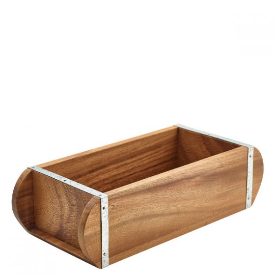 Acacia Wood Brick Mould Table Caddy 12x5x3.25