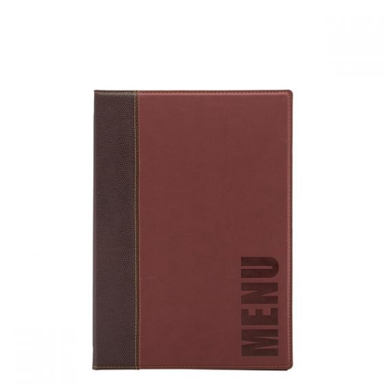 Securit Wine Red Leather Style Stitched Design Menu Holder A4
